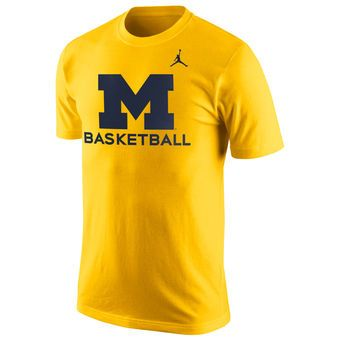 Men's Brand Jordan Maize Michigan Wolverines Basketball University T-Shirt