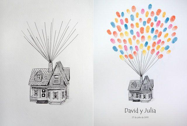 Casa up como libro de firmas con huellas para bodas  | Libros de firmas con huellas dactilares | http://losdetallesdetuboda.com/libros-de-firmas-42