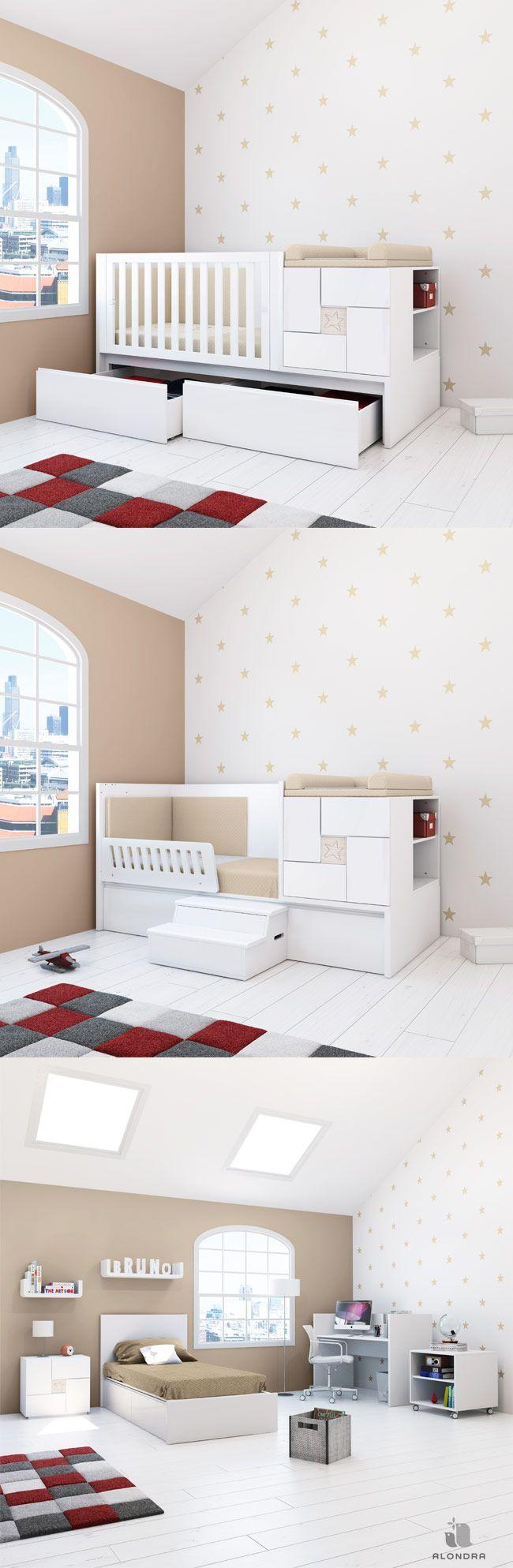 Cunas convertibles en cama de diseño y con encanto. Descubre la colección CLIP de Alondra ¡Una solución de largo recorrido!  Modern convertible crib for babies ¡You'll love it!