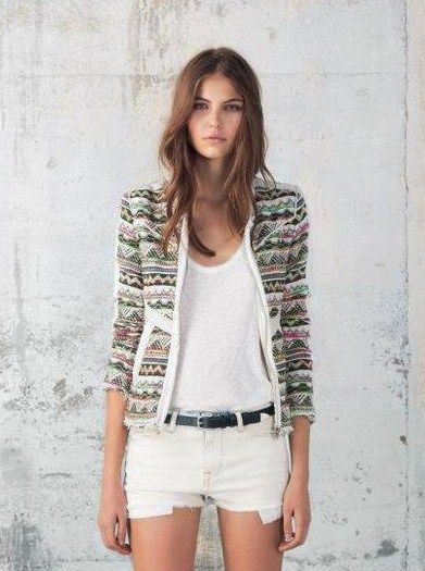 embroidered jacket & white cut offs