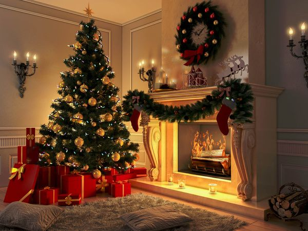 New interior with Christmas tree, presents and fireplace. Postcard Canvas Print by Igor Lichman   Society6