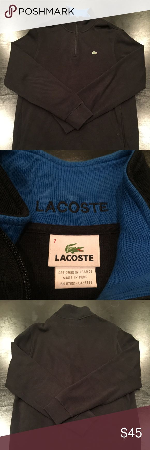 Lacoste Men's Half Zip Sweater Near new condition, only wore twice. No fading or flaws. All black with blue on the inside of the collar. 100% Cotton Lacoste Shirts Sweatshirts & Hoodies