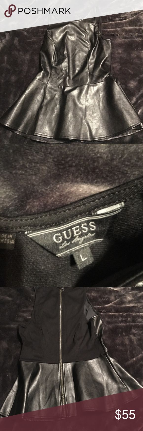 Guess faux black leather peplum top L EUC! It has a little stretch to it. Pristine condition! Guess Tops