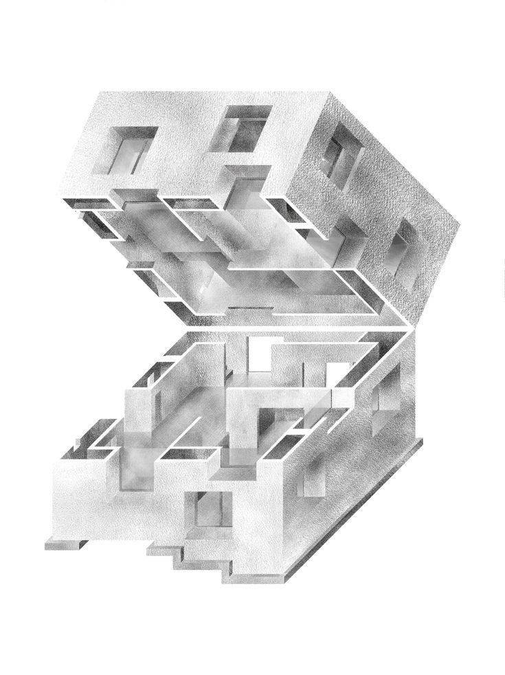 Haris Karajic, Casa Poli axonometric oblique projection drawing