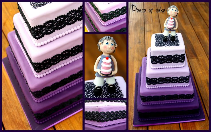 Purple ombre cake with sweet lace