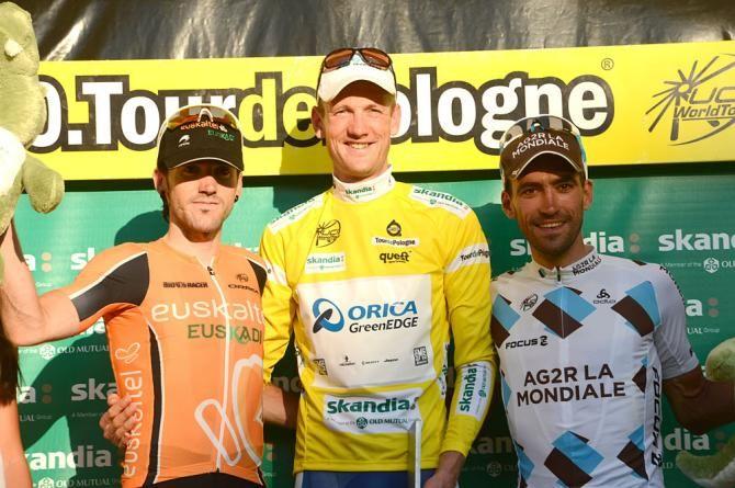 Tour of Poland podium:2013 -  Jon Izaguirre, Pieter Weening (Orica GreenEdge), Christophe Riblon
