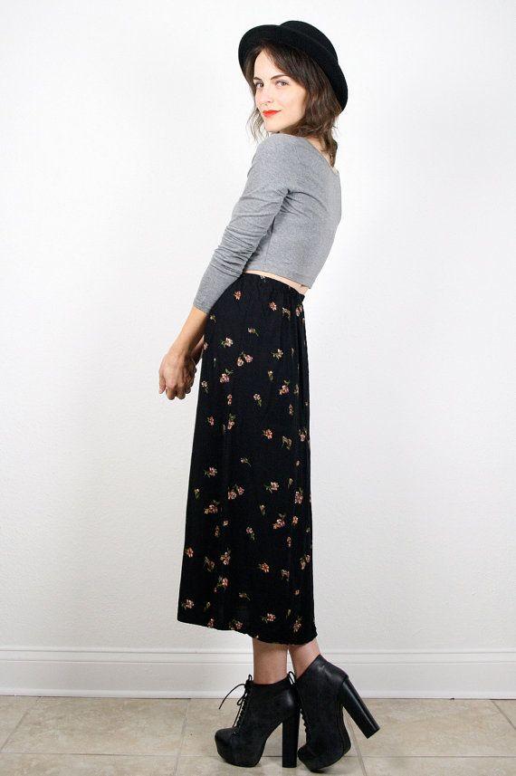 Vintage 90s Skirt Grunge Skirt Black Floral by ShopTwitchVintage