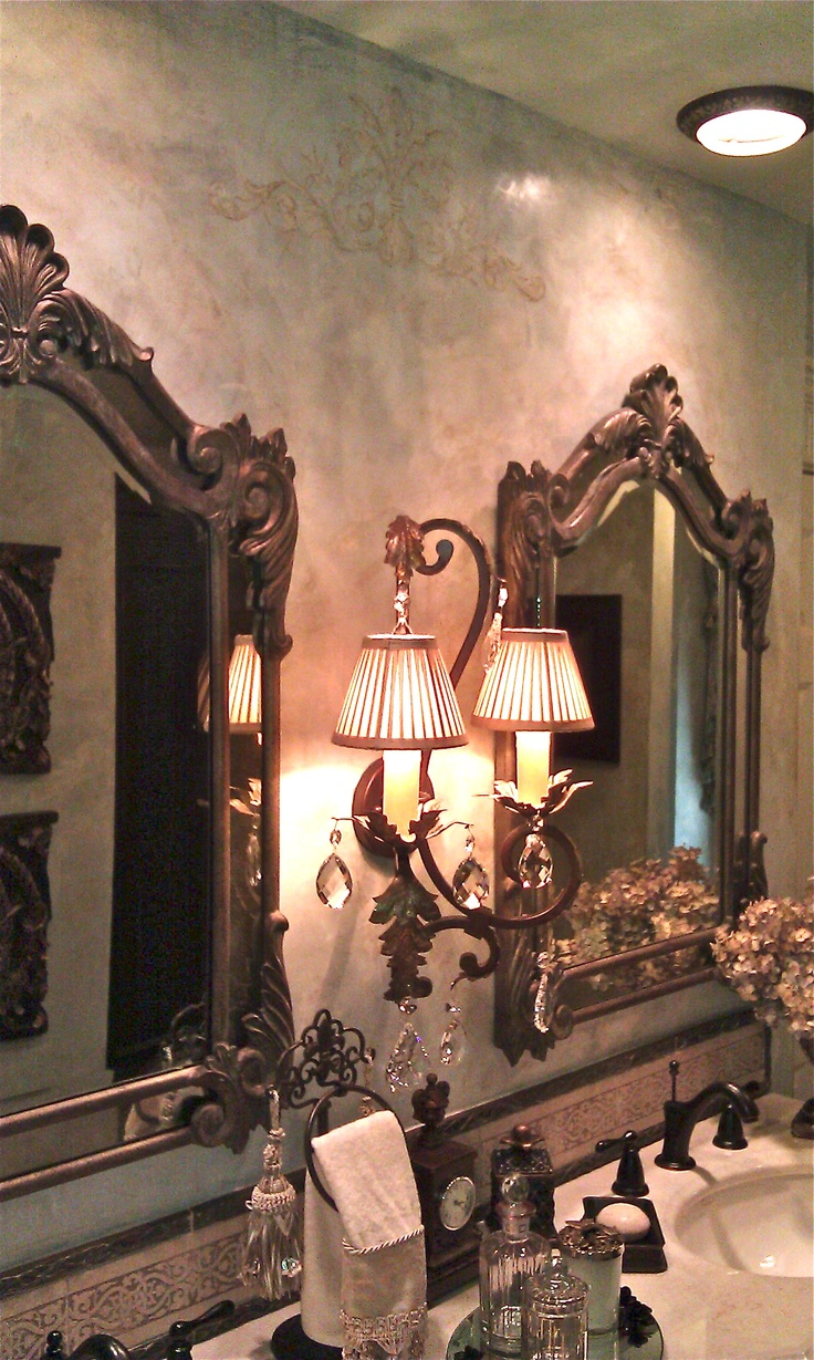 1154 best my tuscan style images on pinterest haciendas tuscan pale blue and cream venetian plaster with dark waxes and embellished royal design studio stencil tuscan bathroomluxurious