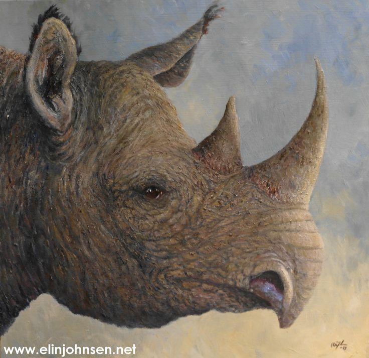 Black Rhino, oil on canvas 2017. 50x50cm. #rhino #art #painting #wildlifeart