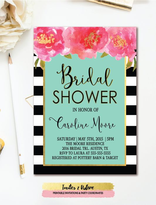 41 best bridal shower invitations images on pinterest bachelorette bridal shower invitation black stripe pink gold watercolor florals printable filmwisefo