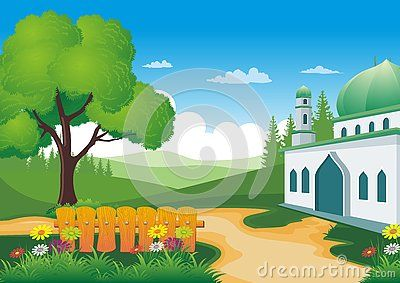 Beautiful natural scenery with Mosque - cartoon design,  beautiful view, pretty and funny