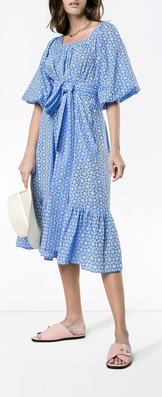 Lisa Marie Fernandez Laure Cornflower Daisy Eyelet Dress
