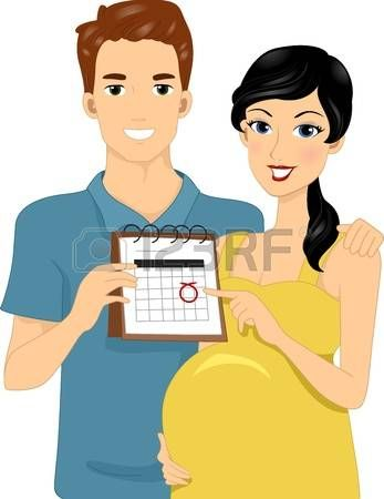 Ilustración de los padres que esperan Señalando Calendario