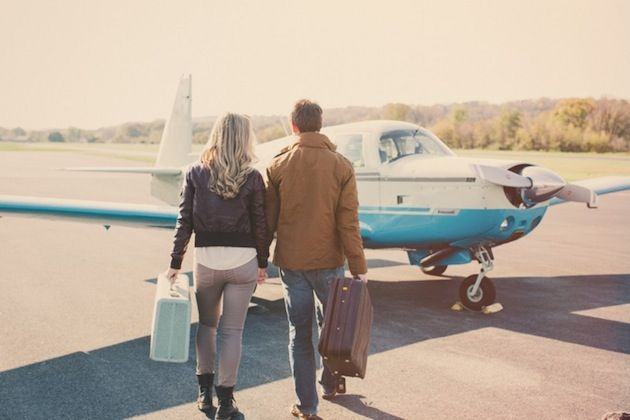 "Engagement Travel Shoot Ideas- this would be a cute announcement with a caption saying something like ""Off on the long journey"" or ""Taking off for the journey of life"""