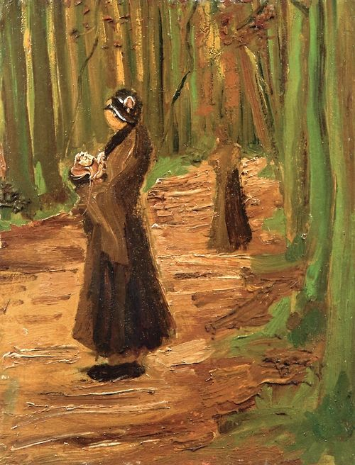 Two Women in a Wood - Vincent van Gogh 1882