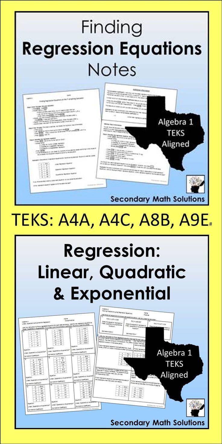 Finding Regression Equations Mixed Practice Math Lesson Plans Quadratics Common Core Math Middle School