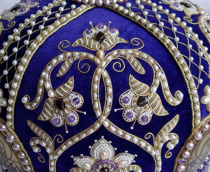 Russian Goldwork with pearls - gorgeous on the blue background!