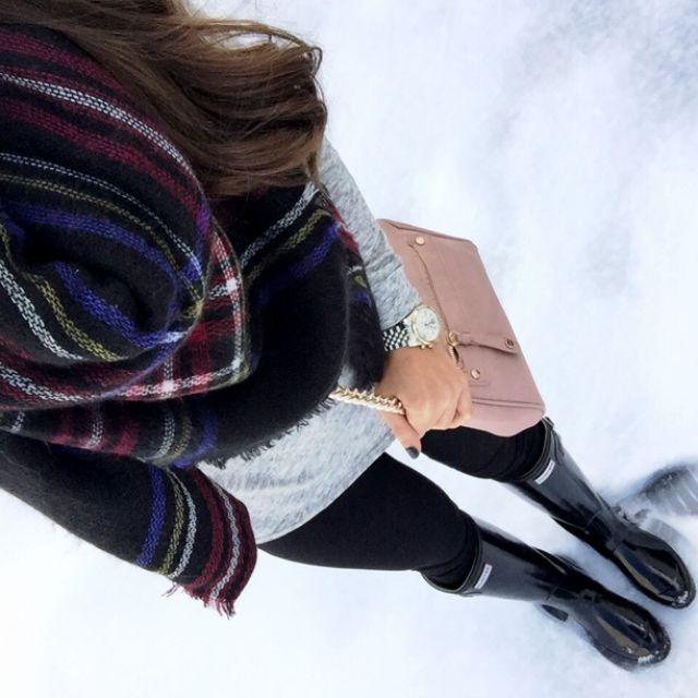 IG @mrscasual <click through to shop this look> zara blanket scarf. Topshop space dye tunic. Jcrew pixie pants. Hunter black glossy rainboots. Blush pink crossbody $32!!