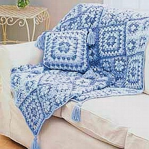 crochet pattern - denim colors granny square throw and pillow