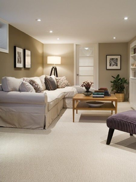 The Best Light Paint Colours For A Dark Room / Basement | Family Room | Dark  Basement, Basement Family Rooms, Cozy Basement