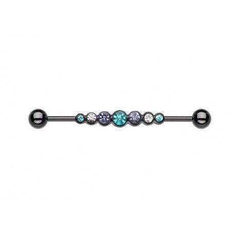 Piercing Industriel Blackline Strass turquoise, blanc et violet #piercing #piercingoreille #piercingindustriel #piercingblackline #earring #earpiercing