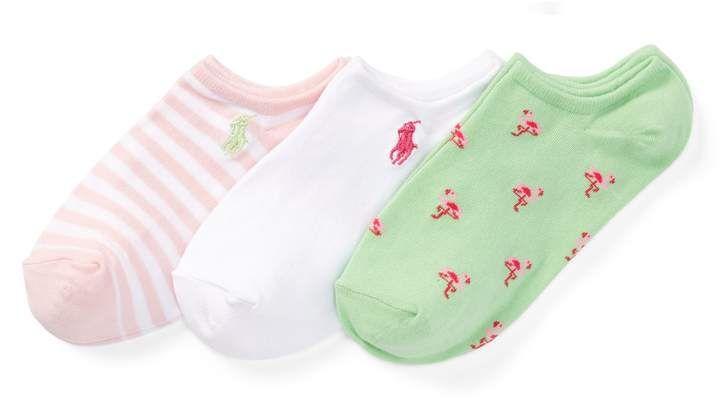 Ralph Lauren Girl/'s Ankle Sock 3-Pack