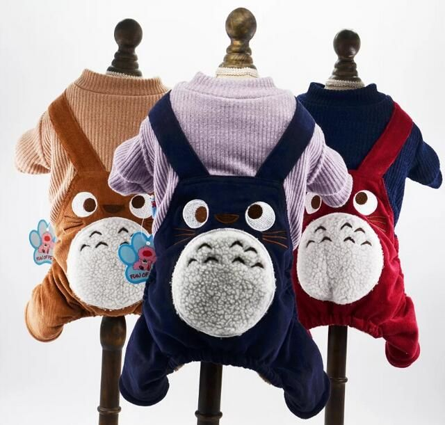 2016 dogs cats cute cartoon tracksuits costume doggy autumn winter jumpsuits clothes puppy rompers pet dog cat apparel 1pcs