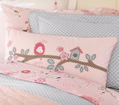 I really wish this came in crib size...would love to do steely blue walls and these pink birds and bird houses