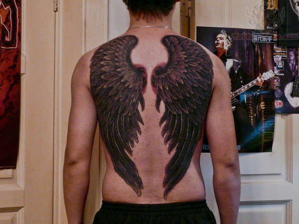 Crow Wings Tattoo On Back