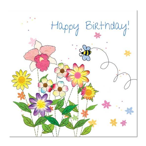 Happy Birthday Card: Bee and Flowers, Unique Greeting Cards, Quality Birthday Cards and Luxury Christmas Cards by Paradis Terrestre