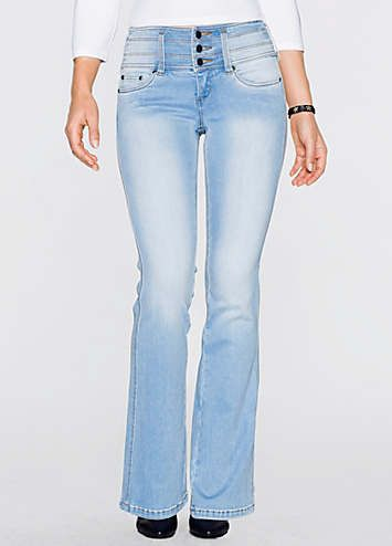 Get a sleeker shape instantly in these flattering boot-cut jeans! A higher, reinforced waist leaves tummies looking flat, while the special cut lifts your bottoms and visually slims your legs. Machine washable. 94% Cotton, 6% Elastane. Available in 3 leg lengths.