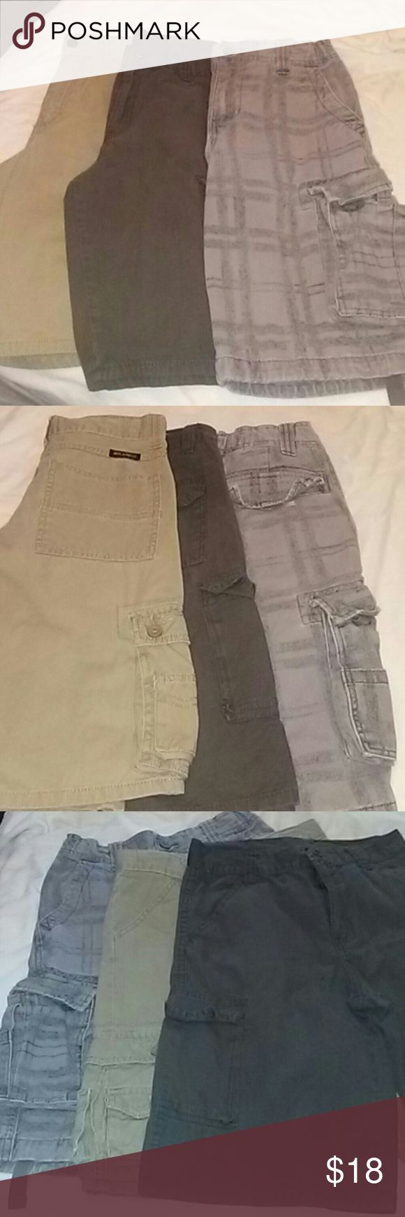 Bundle Boys Cargo Shorts Three pair of cargo shorts, all are a size:12.All in good condition, the grey pair has a small snag underneath back pocket.see:picture Urban Pipeline,Wrangler,Quad Seven Bottoms Shorts