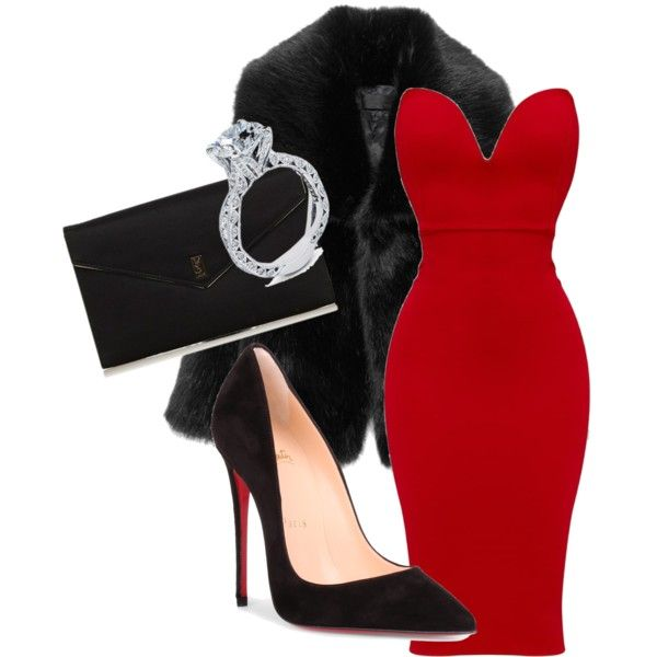 A fashion look from January 2018 featuring Christian Louboutin pumps, Yves Saint Laurent clutches and Tacori rings. Browse and shop related looks.