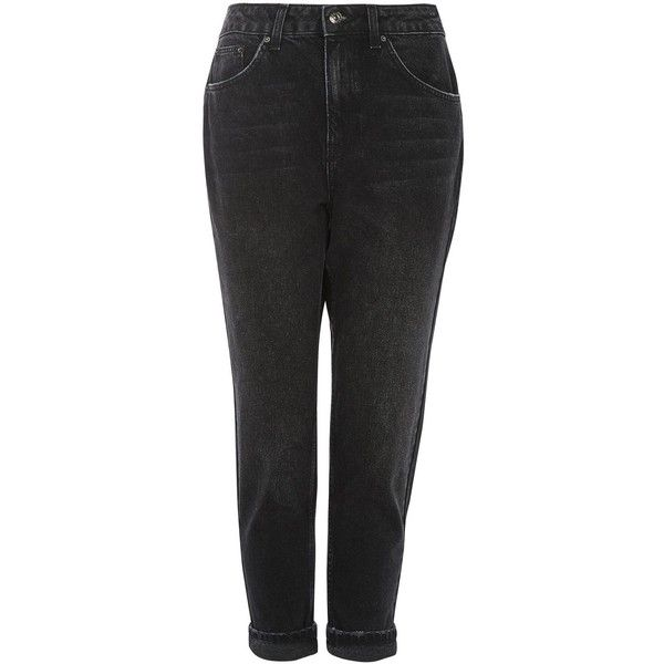 "Topshop Petite 28"""" Washed Black Mom Jeans (34.170 CLP) ❤ liked on Polyvore featuring jeans, washed black, cuffed jeans, high rise skinny jeans, high-waisted jeans, folded jeans and petite skinny jeans"