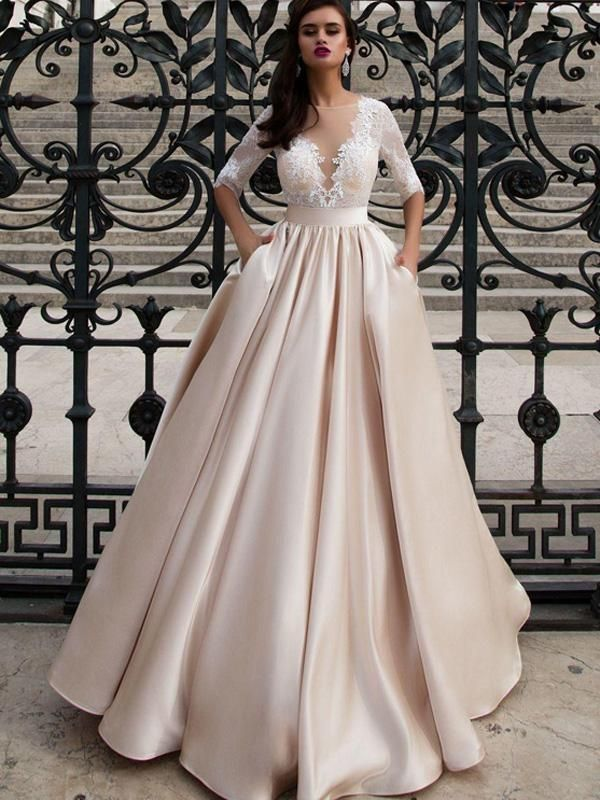A Line Bateau Floor Length 3 4 Satin Wedding Dress Vb416