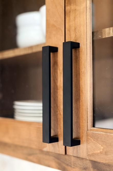 The kitchen cabinet's modern hardware used in the Zan family's newly remodeled home, as seen on Fixer Upper.