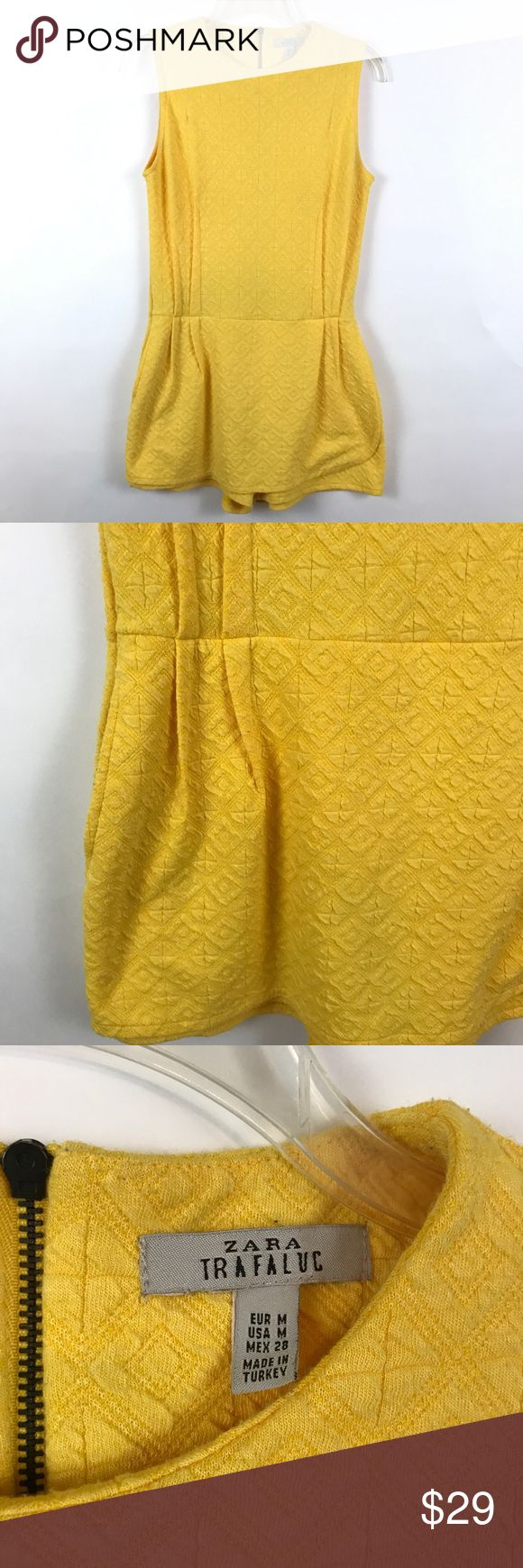 "ZARA | Yellow Textured Skirted Romper B18 Condition: Excellent pre owned condition besides some pilling from washing  Measurements (laying flat): 17"" pit to pit 32"" length 3"" inseam  Item location: bin 18 Zara Pants Jumpsuits & Rompers"