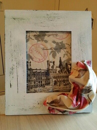 Shabby chic frame with fabric decoration