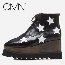 QMN vrouwen lederen enkellaarsjes voor Vrouwen Star Versierd Mode Platform Laarzen Schoenen Vrouw Wiggen Laarzen Botas Maat 34-42(China)