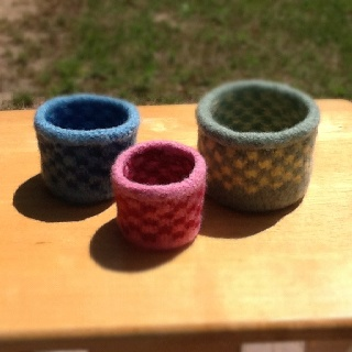 Checkerboard felted bowls