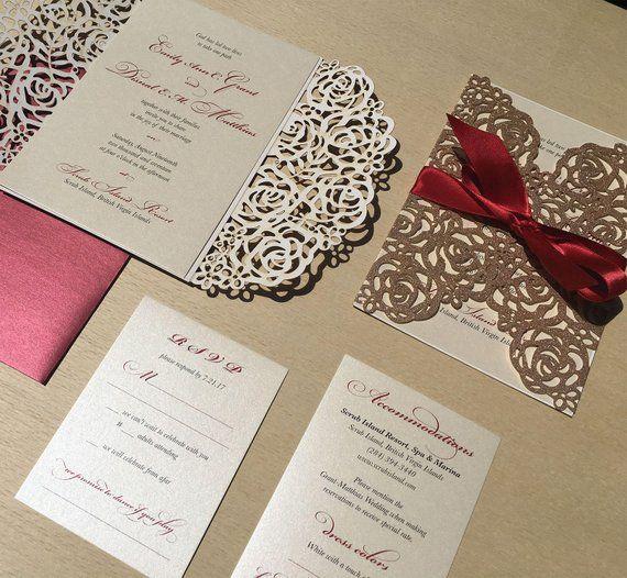 0dfb3f4092f5a Glitter Laser Cut Wedding Invitation - Rose Gold Lasercut Invite ...