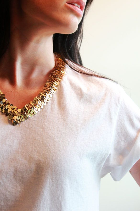The Forge: diy: t-shirt make-over part I - sequin collar t-shirt