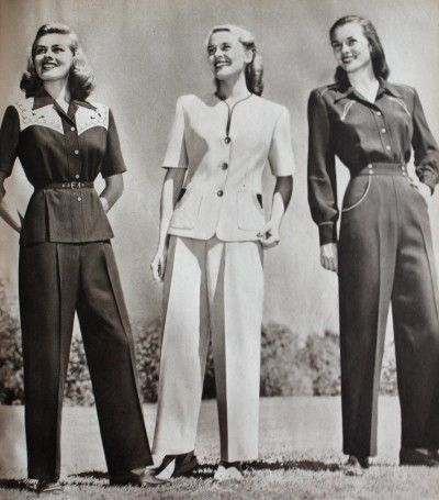 1940s Ladies Workwear Clothes: 1947 two peice work suits- for light duty industrial work, line work, or casual home wear. #WW2 #1940s