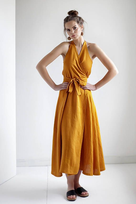 b096b5dd230 Maxi Linen Wrap Halter Dress in 2019