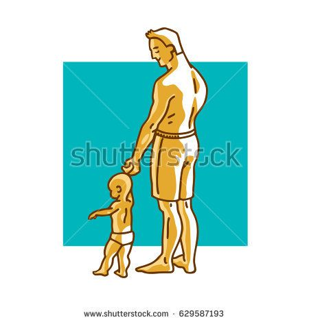 Father and small child standing on the beach. Dad holds the hand of a little baby. Vector graphic illustration in cartoon style.