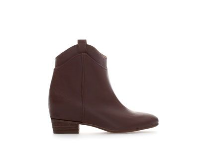 Image 1 of LEATHER ANKLE BOOT WITH INTERIOR WEDGE from Zara