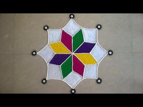 Free Hand Rangoli design by Savita - 2015 - #39 - YouTube
