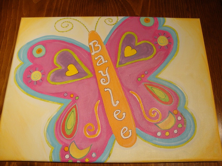 """Children S Party Box Wall Art For Girl S Bedroom: Personalized Whimsical Butterfly 20"""" X 16"""" Canvas Painting"""