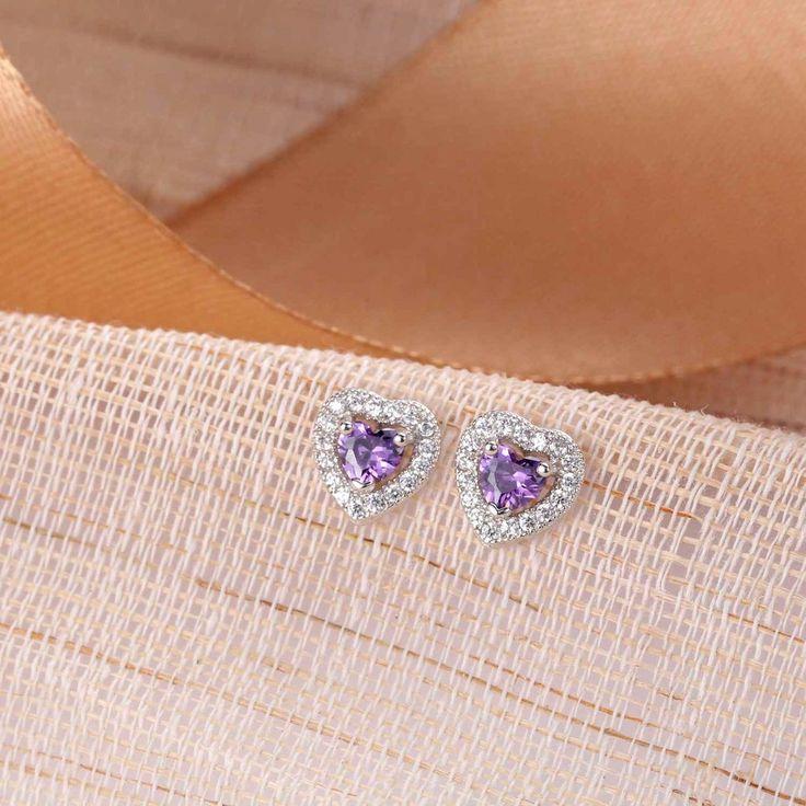 UneJoux Sterling Silver Earrings With Purple Swarovski Elements Zirconia - UneJoux