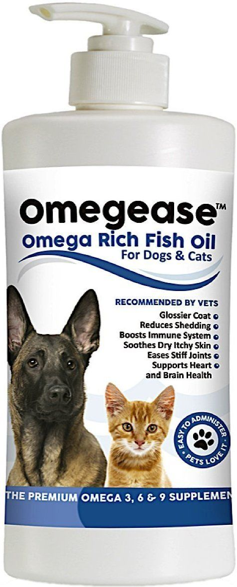 Show your pet some all-in-one love and care with the Finest for Pets Omegease Omega-Rich Fish Oil Dog & Cat Supplement. Offering a variety of health benefits, this omega oil is made from wild sardines, anchovies, herring, and mackerel that are sustainably caught from the pristine waters of the North Atlantic. Easily mixing with food, it helps promote a glossier coat, boosts the immune system, reduces shedding, supports brain and heart health, lubricates stiff joints, and soothes dry skin....